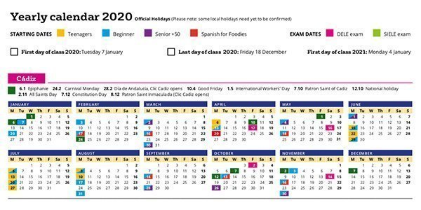 Calendar Spanish Language School Cadiz